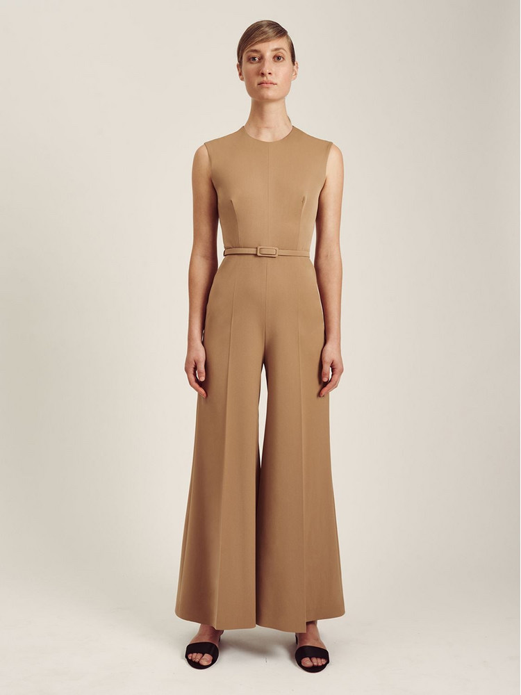 EMILIA WICKSTEAD Ena Sleeveless Stretch Cady Jumpsuit in beige