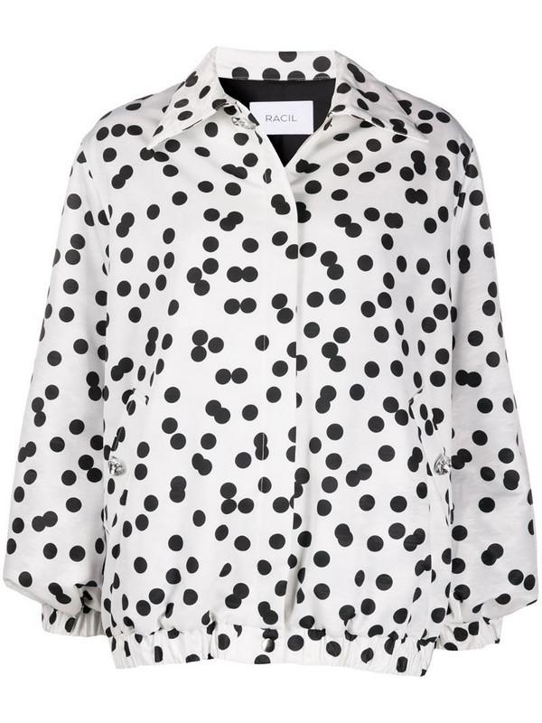 Racil oversized polka dot shirt jacket in white