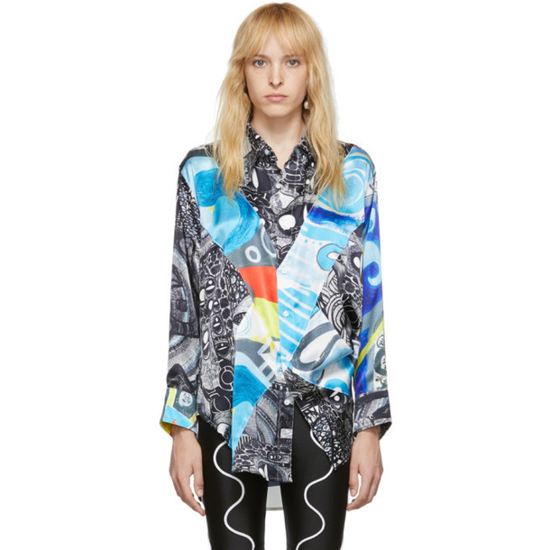 Charles Jeffrey Loverboy Black Silk Art Painted Shirt