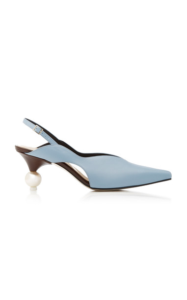 Yuul Yie Doreen Faux Pearl-Embellished Leather Slingback Pumps in blue