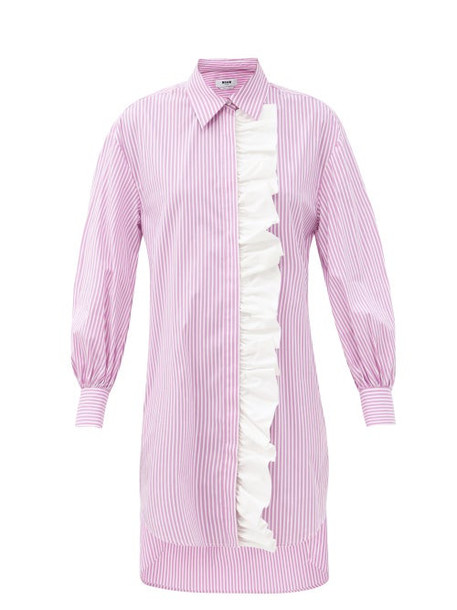 MSGM - Ruffled Striped Cotton-blend Shirt Dress - Womens - Pink Stripe