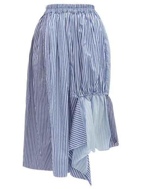 By Walid - Frida Striped Asymmetric Cotton Canvas Skirt - Womens - Blue Multi