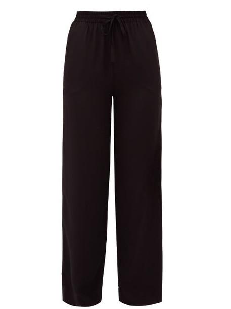 Matteau - Drawstring Waist Silk Crepe Trousers - Womens - Black