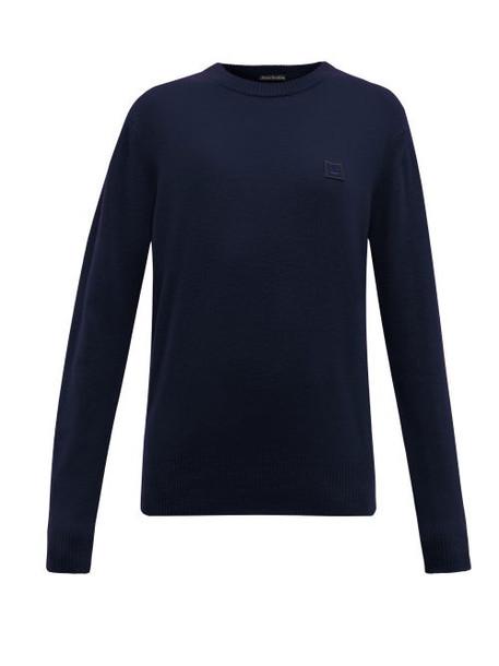 Acne Studios - Nalon Face Wool Sweater - Womens - Navy