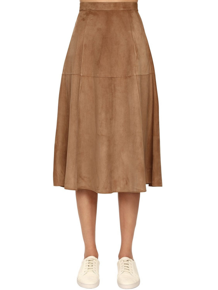 MAX MARA 'S Suede A Line Skirt in camel