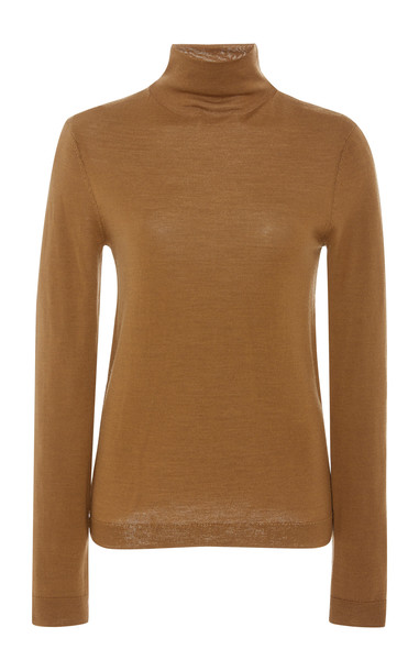 Vince Fitted Wool And Silk Blend Turtleneck Top Size: XS in brown