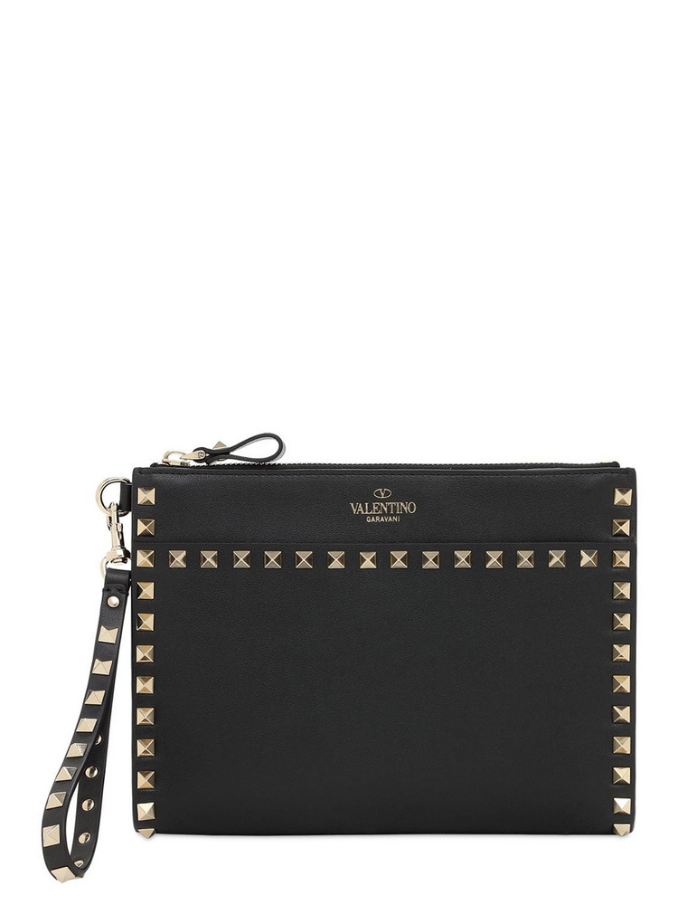VALENTINO GARAVANI Rockstud Leather Medium Flat Pouch in black
