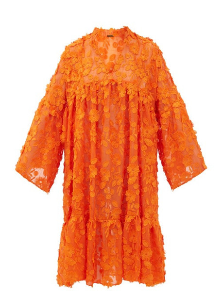 Dodo Bar Or - Nell Floral-appliqué Cotton-voile Dress - Womens - Orange