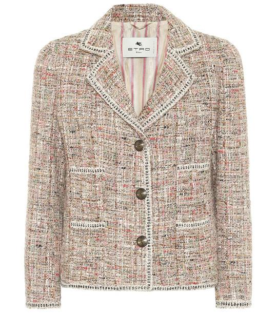 Etro Cotton-blend tweed blazer in pink