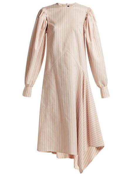 Calvin Klein 205w39nyc - Pinstriped Silk And Cotton Blend Midi Dress - Womens - White Multi