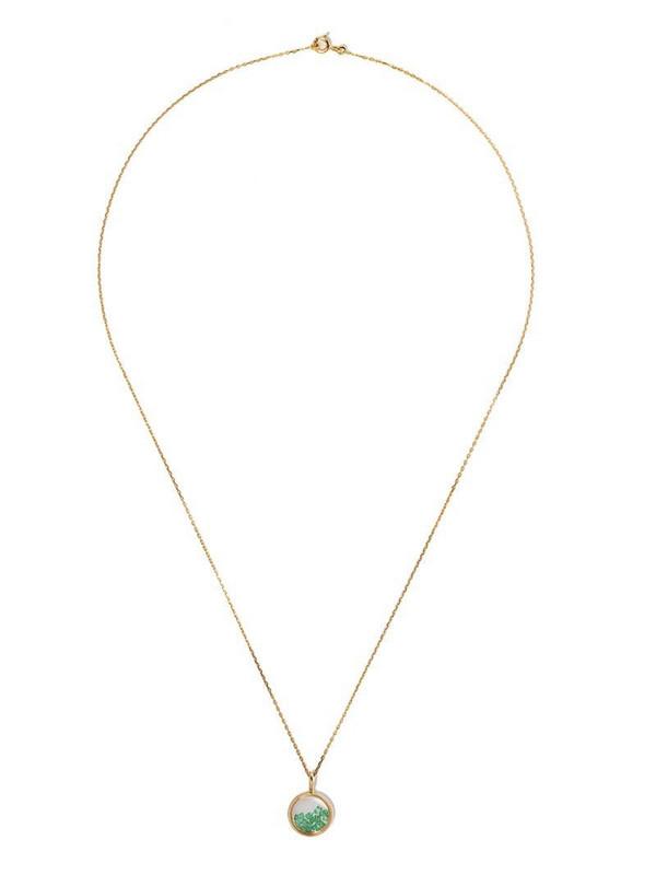 Aurelie Bidermann 18kt yellow gold emerald Chivor mini medallion necklace