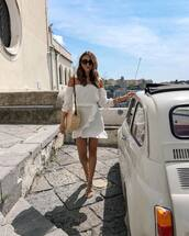 dress,white dress,mini dress,off the shoulder dress,long sleeve dress,sandal heels,shoulder bag