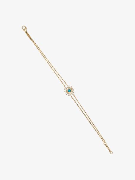 Suzanne Kalan 18K yellow gold turquoise evil eye diamond chain bracelet