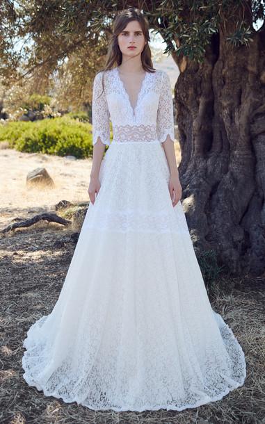 Costarellos Danae Lace Gown in white