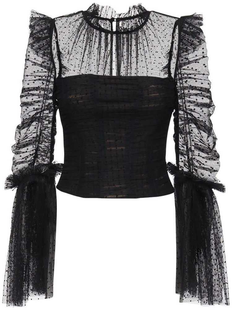 SELF-PORTRAIT Dot Mesh Top W/ Ruched Sleeves in black