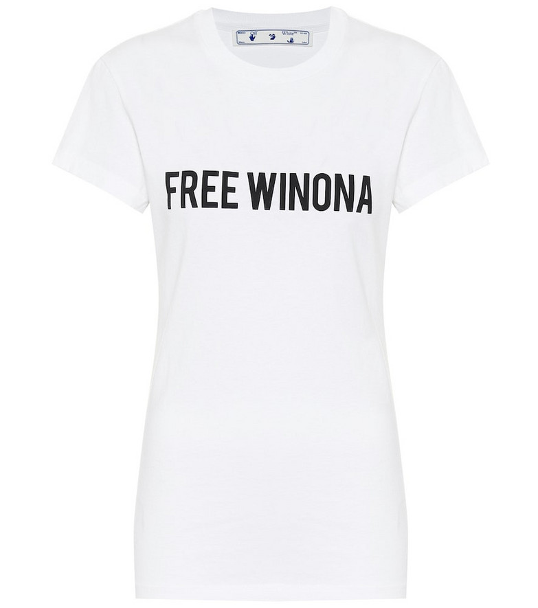Off-White Printed cotton-jersey T-shirt in white