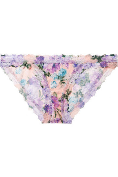 Hanky Panky - Ashley Floral-print Stretch-lace Briefs - Blush