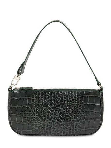 BY FAR Rachel Croc Embossed Leather Bag in green