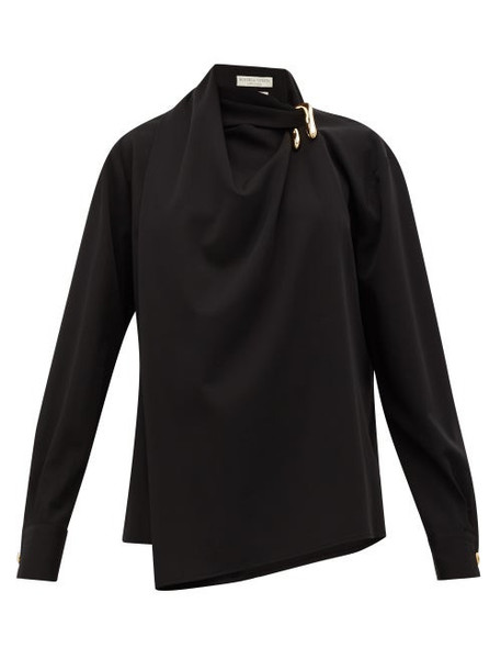 Bottega Veneta - Draped Wool-twill Blouse - Womens - Black