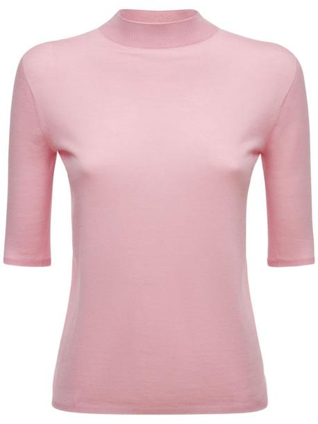 AG Mock Collar Silk & Wool Knit Sweater in pink