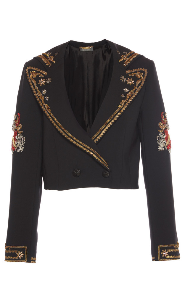 Alberta Ferretti Cropped Embroidered Jacket in black