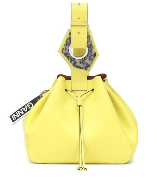 Ganni Leather shoulder bag in yellow