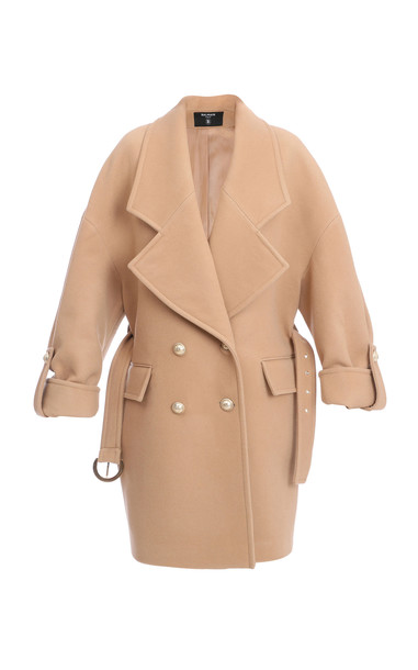 Balmain Belted Double-Breasted Wool-Blend Trench in neutral