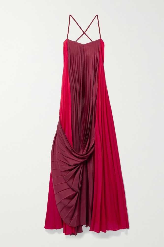 ZEUS + DIONE ZEUS + DIONE - Alysi Draped Pleated Two-tone Crepe De Chine Maxi Dress - Red