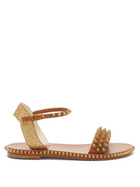 Christian Louboutin - Cordorella Spike-embellished Leather Sandals - Womens - Tan Gold