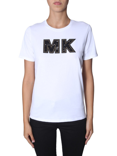 MICHAEL Michael Kors Round Neck T-shirt in bianco