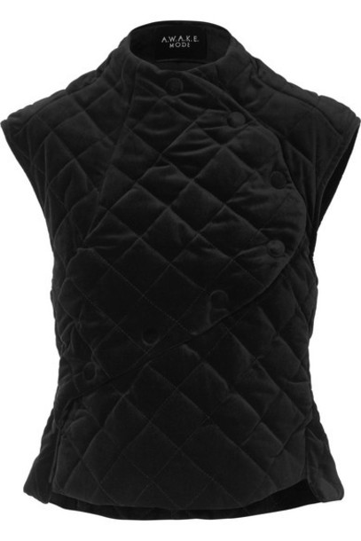 A.W.A.K.E. MODE - Secret Shield Quilted Velvet Top - Black