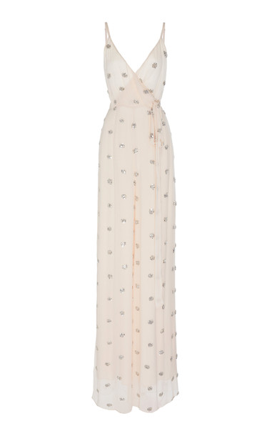 Alexis Cosmina Embroidered Georgette Jumpsuit in pink