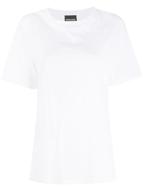 Ermanno Ermanno lace embroidered T-shirt in white