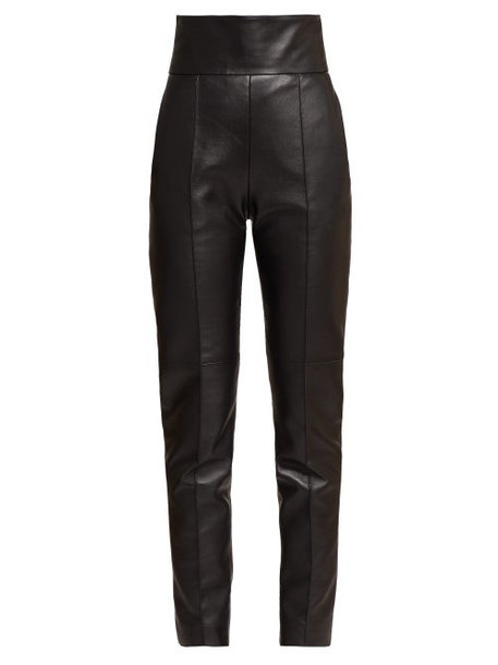 Alexandre Vauthier - High Rise Slim Fit Leather Trousers - Womens - Black