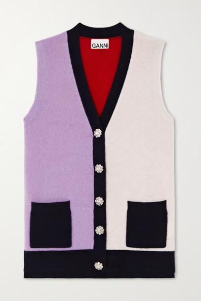 GANNI - Crystal-embellished Color-block Cashmere Vest - Lilac