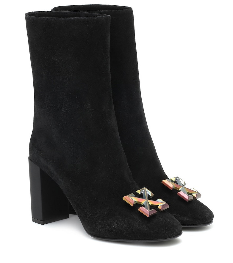 Off-White Arrow suede ankle boots in black