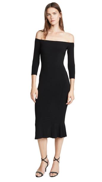 Norma Kamali Off The Shoulder Fishtail Dress in black