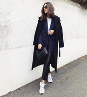 pants,black leather pants,cropped pants,sneakers,blazer,double breasted,black bag