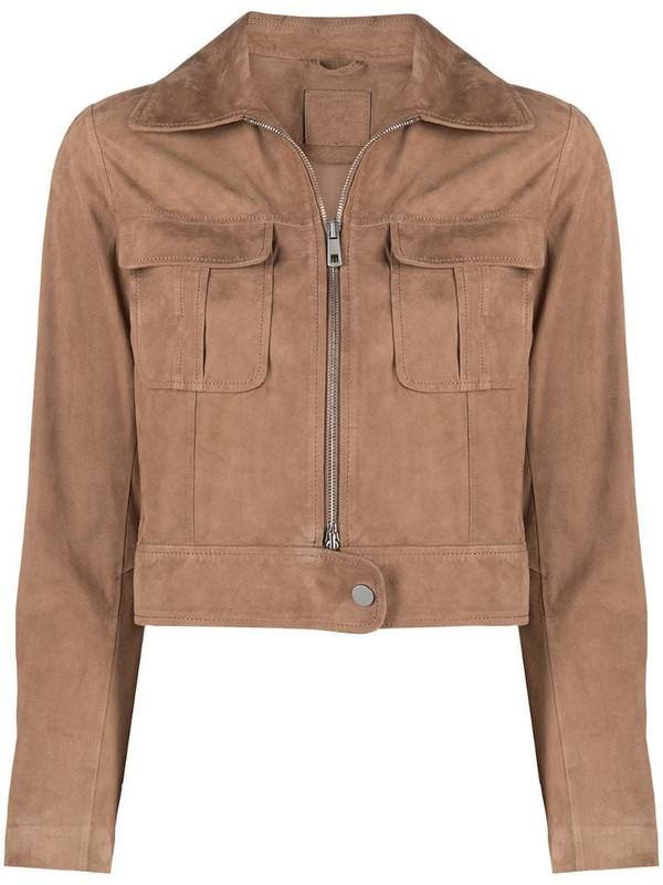 Desa 1972 cropped suede jacket in brown