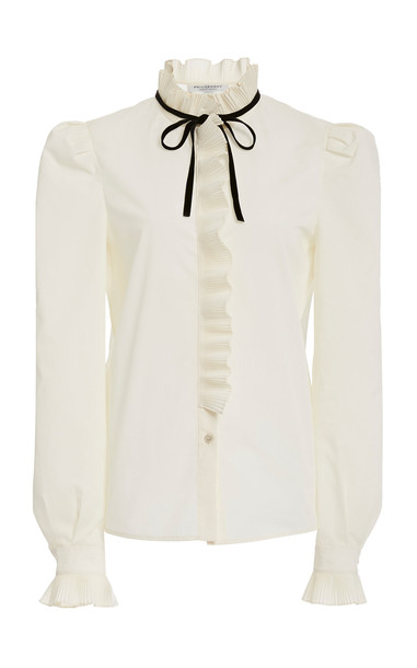 Philosophy di Lorenzo Serafini Tie-Detailed Ruffled Cotton-Blend Top in white