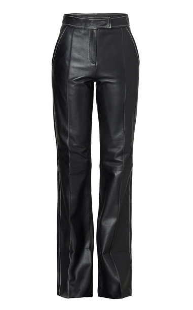 Stand Studio Rivka Leather Straight-Leg Pants Size: 40 in black