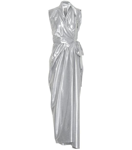 Rick Owens Metallic silk-blend midi dress in silver