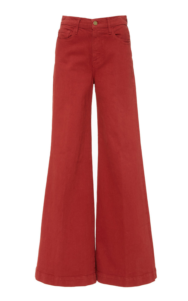 FRAME Le Palazzo High-Waisted Wide-Leg Jeans in red
