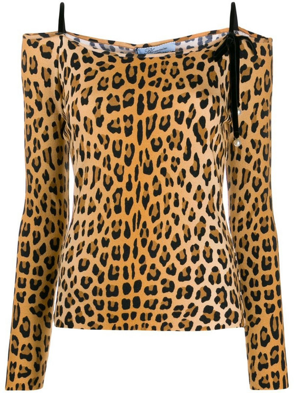 Blumarine off-shoulder leopard print top in brown