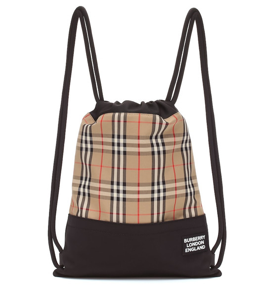 Burberry Check drawstring backpack in beige
