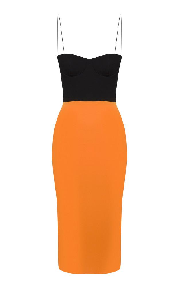Alex Perry Lee Two-Tone Bustier Crepe Midi Dress in orange