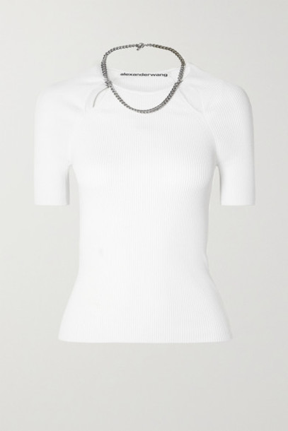 Alexander Wang - Chain-embellished Ribbed-knit Top - White
