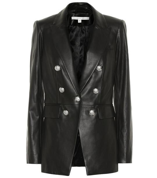Veronica Beard Gaya Dickey leather blazer in black