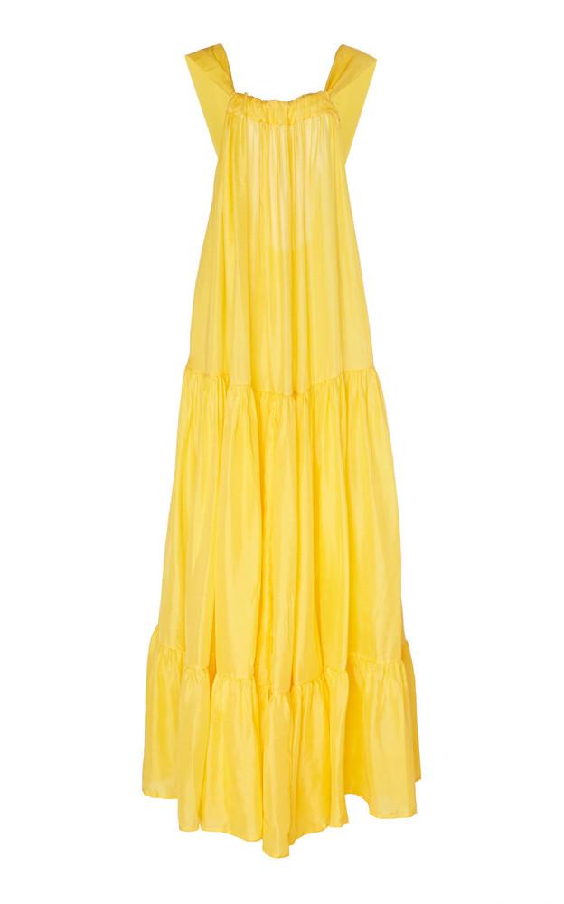 Kalita Asiri Gathered Silk Maxi Dress Size: XS/S in yellow