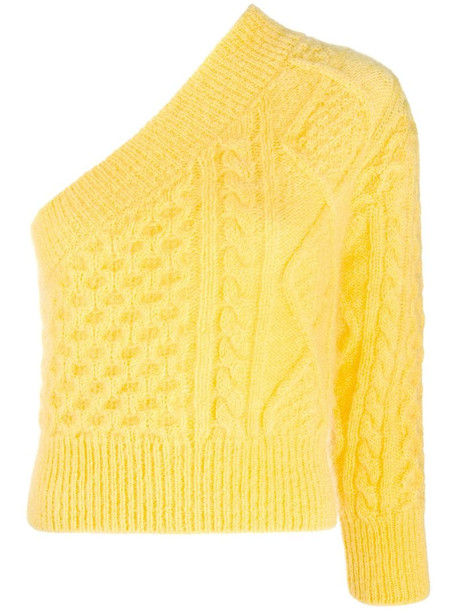 Laneus cable-knit one-shoulder jumper in yellow